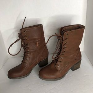 Brown Lace Up Combat Boots